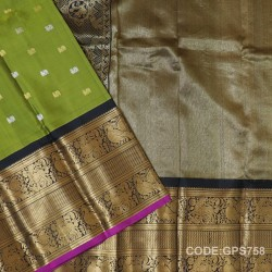 Gadwal Handwoven Pure Silk Saree With Broad Border-GPS758