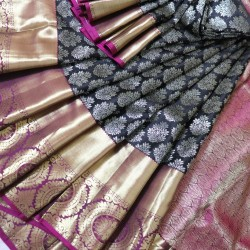 Kanchi Pattu Black Brocade 50% Off - KMP746