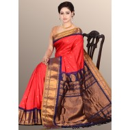 Gadwal Pure Silk Reddish Pink With Navy Blue