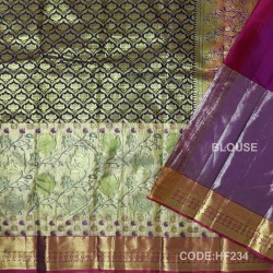 Half Fine Silk Saree With Black,Purple Along Gold Combination-HF234