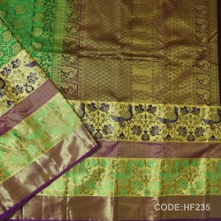 Half Fine Silk Saree With Light Green,Blue&Purple Along Gold Combination-HF235