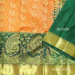 Half Fine Silk Saree With Orange&dark green Along Gold Combination-HF236