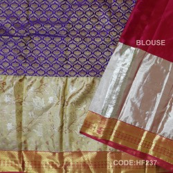 Half Fine Silk Saree With Blue&Red Along Gold Combination-HF237