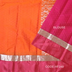 Half Fine Silk Saree With Orange&Red Along Silver Combination-HF240