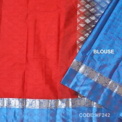 Half Fine Silk Saree With Red&Blue Along Silver Combination-HF242