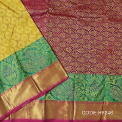 Half Fine Silk Saree With Mustard Yellow&Pink Along Gold Combination-HF246