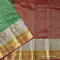 Half Fine Silk Saree With Green&Pink Along Gold&silver Combination-HF248