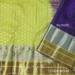 Half Fine Silk Saree With Yellow&Blue Along Silver Combination-HF249