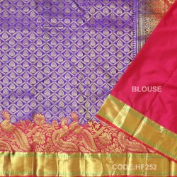Half Fine Silk Saree With Blue&Red Along Gold Combination-HF252