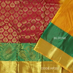 Half Fine Silk Saree With Red&Green Along Gold Combination-HF253