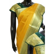 Crepe Silk Plain with Kanchi Border Butta Blouse