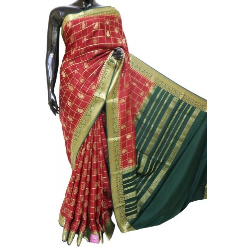 Mysore Pure Crepe Silk Full Cheks with Kairy Butta
