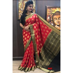 Mysore Crepe Silk Saree Red with black