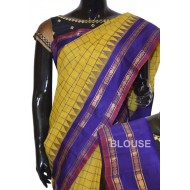 Checks Sico Gadwal with Attached pure silk Pallu & Blouse