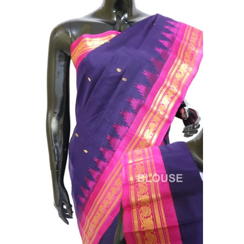 Gadwal Pure Sico Kuttu Temple Border Navy Blue with Pink