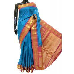 Gadwal Pure Sico Kuttu Temple Border Blue with Gold