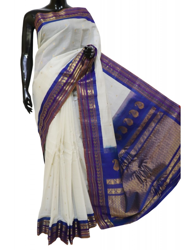 Gadwal Pure Sico Kuttu Border Half white with Blue