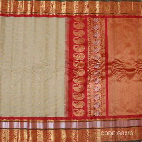 Gadwal Sico Pure Handwoven with Cream and Red -GS213