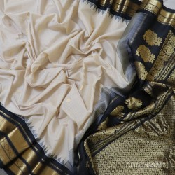 Gadwal Sico Pure Handwoven half white with black - GS217
