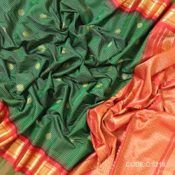 Gadwal Sico Pure Handwoven with Dark Green and Red-GS218