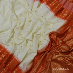 Gadwal Sico Pure Handwoven with White and Red-GS220