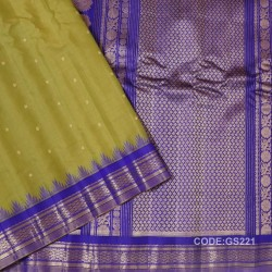 Gadwal Sico Pure Handwoven with Mustard Yellow and Blue-GS221