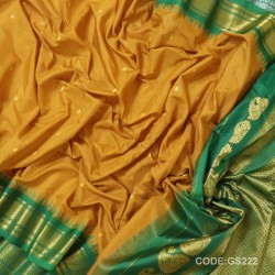 Gadwal Sico Pure Handwoven with Yellow and Green-GS222