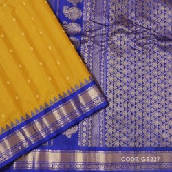Gadwal Sico Pure Handwoven with Yellow and Blue-GS227