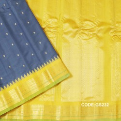 Gadwal Sico Pure Handwoven with Grey and Yellow-GS232