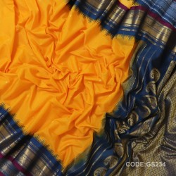 Gadwal Sico Pure Handwoven with Yellow and Blue-GS234