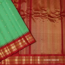 Gadwal Sico Pure Handwoven with Light Green and Red-GS236