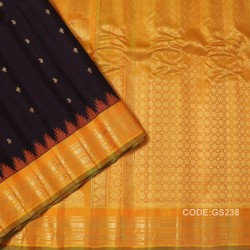Gadwal Sico Pure Handwoven with Chocolate and Yellow-GS238