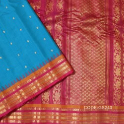 Gadwal Sico Pure Handwoven with Sky blue and Red-GS243