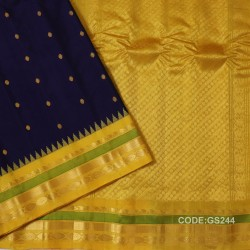 Gadwal Sico Pure Handwoven with Navy blue and Yellow-GS244