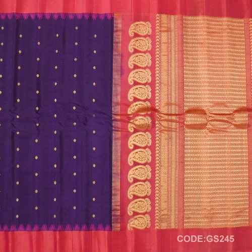 Gadwal Sico Pure Handwoven with Purple and Red-GS245