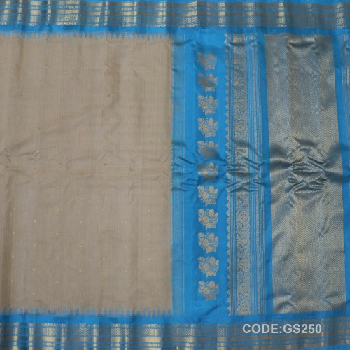 Gadwal Sico Pure Handwoven with Grey and Sky Blue-GS250