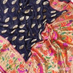Banarasi Pure Georgette with Paithani Border-BRS29