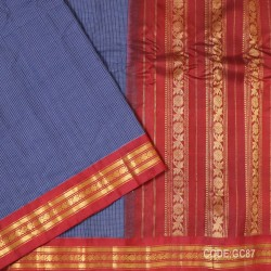 Gadwal pure cotton saree with Small Cheks-GC87