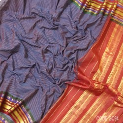 Gadwal pure cotton saree with Small Cheks-GC94