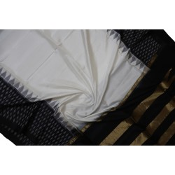 Ikkat Pure Silk white with Black