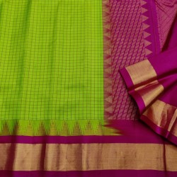 Gadwal Pure silk Small Temple border with Checks  GPS873