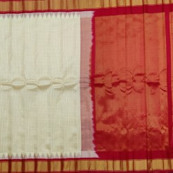 Gadwal Pure silk Small Temple border with Checks GPS877