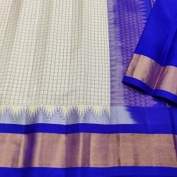 Gadwal Pure silk Small Temple border with Checks  GPS870