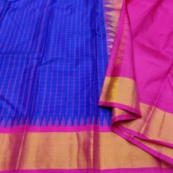 Gadwal Pure silk Small Temple border with Checks  GPS861