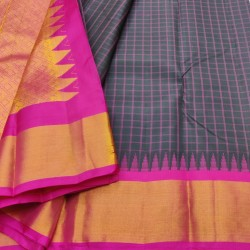 Gadwal Pure silk Small Temple border with Checks  GPS863