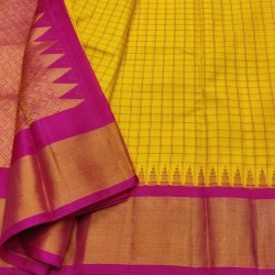 Gadwal Pure silk Small Temple border with Checks  GPS864
