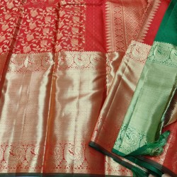 Kanchi Pure Silk Red Saree Marriage Special 12 inches Long Border - KMP1060