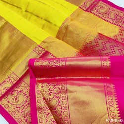 Kanchi pure Pattu Handloom checks saree with butta - KMP1033
