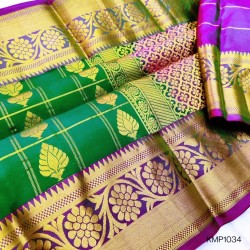 Kanchi pure Pattu Handloom checks saree with butta - KMP1034