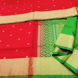 Red With Green Traditional LIght weight Pattu  - LSS106
